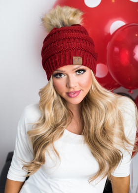 Mommy Fur Ball Beanie Red