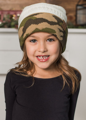 Girls Ivory and Camo Beanie
