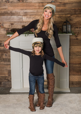 Mommy Ivory and Camo Beanie