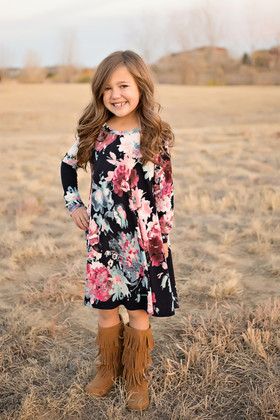 Girls Floral Sweater Dress w/ Pockets- Navy