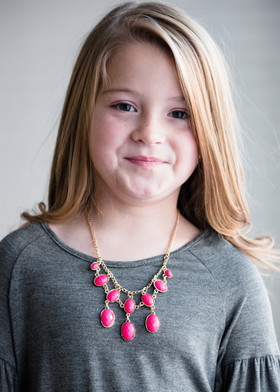 Girls Flaunt It Jeweled Necklace- Pink CLEARANCE