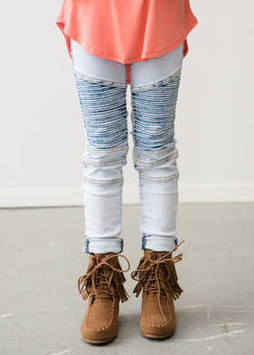 Girls Moto Jeggings- Acid Wash CLEARANCE