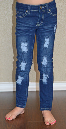 Girls Distressed Jeans- Dark Denim CLEARANCE