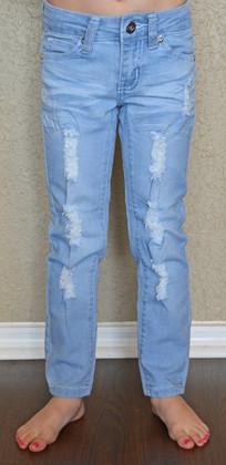 Girls Distressed Jeans- Light Denim CLEARANCE