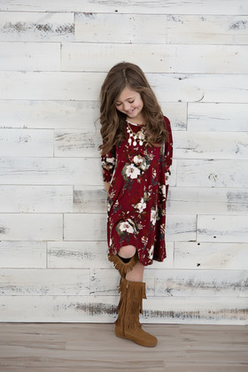 Girls 3/4 Sleeve Flowy Petunia Dress- Burgundy
