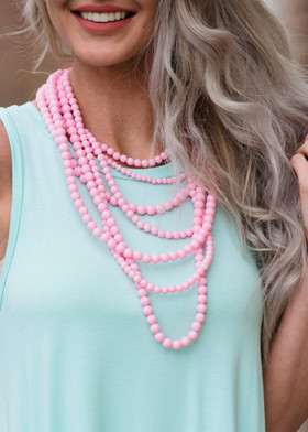 Layers and Dangles Pearl Necklace Pink