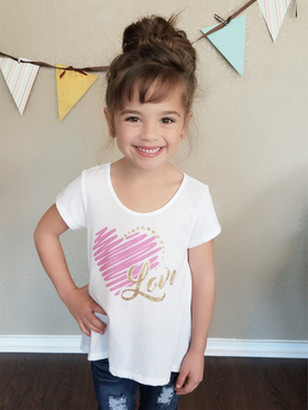 Girls LOVE Scribble Heart Top- White CLEARANCE