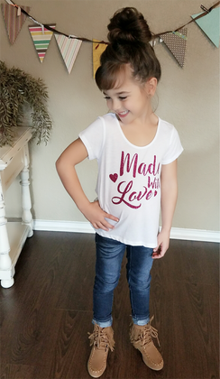 Girls Made With Love Glitter Tee- Fuchsia CLEARANCE