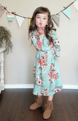 Girls Wonderlust Floral Midi Dress Mint