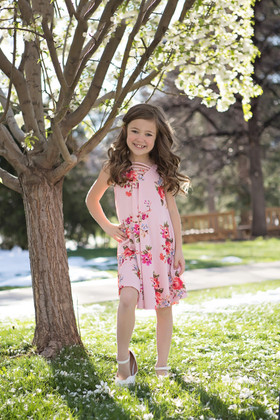 Girls Having A Good Time Floral Dress Blush CLEARANCE