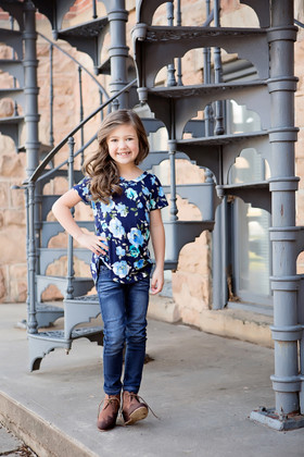 Girls Floral High-Low Top Navy CLEARANCE
