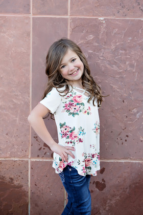 Girls Never Too Many Florals Criss Cross Top Ivory CLEARANCE