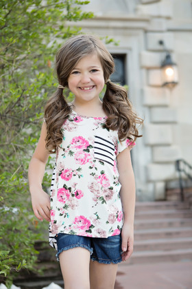 Girls Delicate Floral Front/Striped Back Top Ivory CLEARANCE