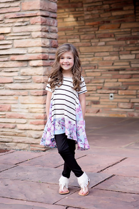 Girls Lilac Floral Side Panel Stripe Top Ivory CLEARANCE