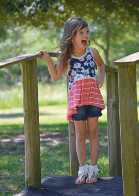 Girls Floral and Coral Stripes Tank CLEARANCE