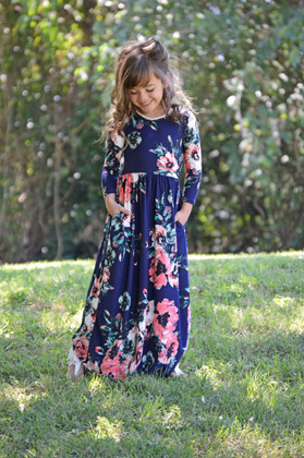 Girls Floral Magic 3/4 Sleeve Maxi Navy