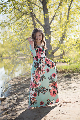 Girls Floral Magic 3/4 Sleeve Maxi Mint