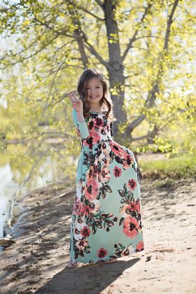 Girls Floral Magic 3/4 Sleeve Maxi Mint