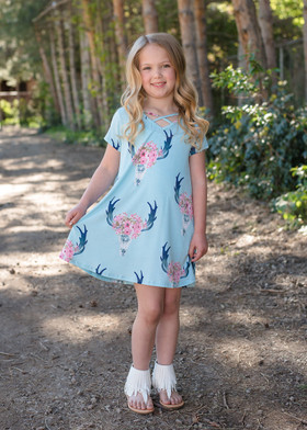 Girls Criss Cross Skull Dress Blue
