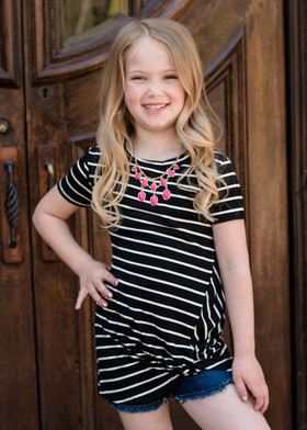 Girls Knot So Simple Stripe Top Black CLEARANCE