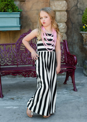 Girls Black and White Striped Maxi Tank CLEARANCE