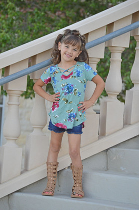 Girls Floral Criss Cross Top Sage CLEARANCE