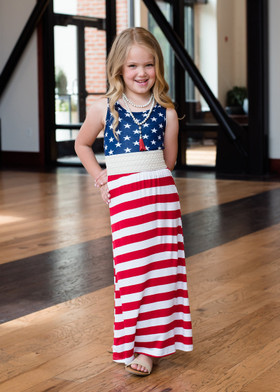 Girls Red, White and Blue Maxi Dress CLEARANCE