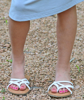 Girls Strappy Sandals White CLEARANCE