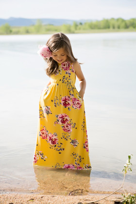 Girls Pink Floral Maxi Tank Mustard CLEARANCE