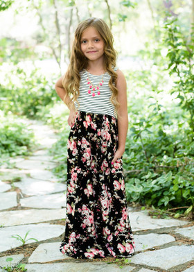 Girls Fields of Floral Striped Dress