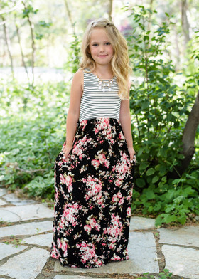 Girls Fields of Floral Striped Dress