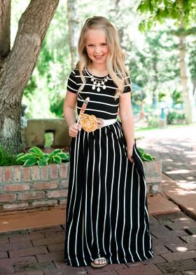 Girls Babydoll Striped Pocket Maxi Dress Black