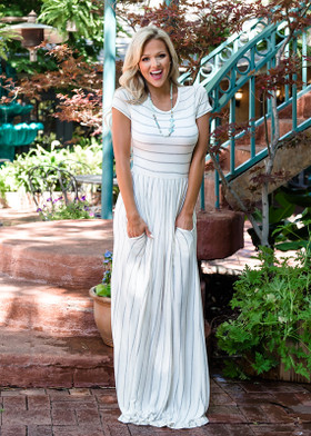 Mommy Babydoll Striped Pocket Maxi Dress Ivory/Gray
