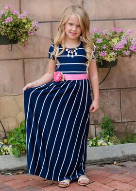 Girls Babydoll Striped Pocket Maxi Dress Navy