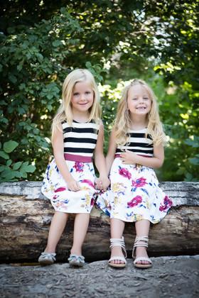 Girls So Pretty Stripes And Burgundy Floral Tank Dress Ivory