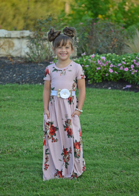 Girls Oh So Lovely Floral Cap Sleeve Maxi Dress Mauve