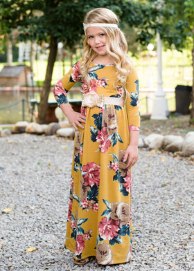 Girls Bringing Me Home Floral Mustard Maxi CLEARANCE