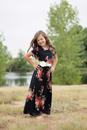 Girls Oh So Lovely Floral Cap Sleeve Maxi Dress Black