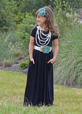 Girls Cap Sleeve Cinched Maxi Dress Black