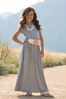 Cap Sleeve Cinched Maxi Dress Heather Gray