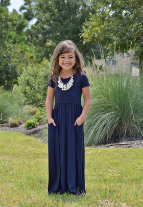 Girls Cap Sleeve Cinched Maxi Dress Navy