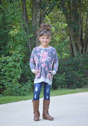 Girls Go To Floral Sweater Charcoal with Gray Trim