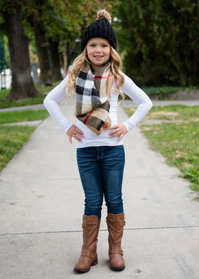 Girls Perfect for Fall Oversized Blanket Scarf Tan