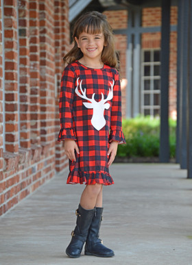 Girls Having a Blast Checkered Red and Black Deer Dress  CLEARANCE
