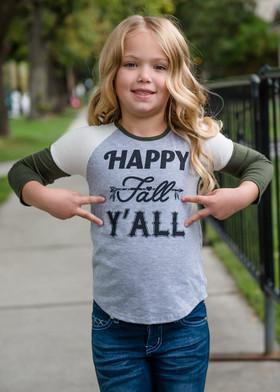 Girls Happy Fall ya'll 3/4 Baseball Tee Olive