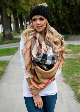 Mommy Perfect for Fall Oversized Blanket Scarf Tan