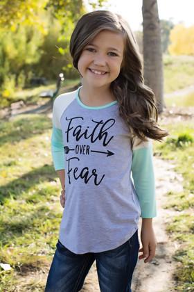 """Girls """"Faith Over Fear"""" 3/4 Sleeve Mint Top"""