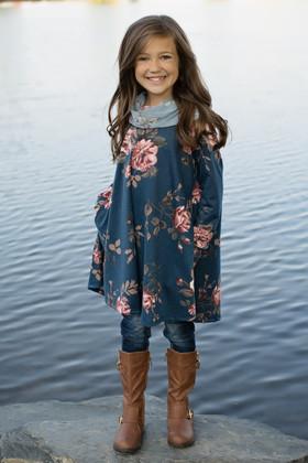 Girls Denim Floral Cowl Neck Dress