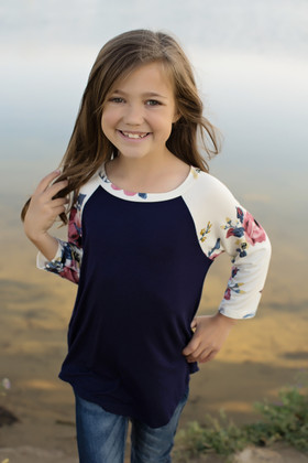 Girls Long Sleeve Navy Top with Floral Ivory Sleeves CLEARANCE