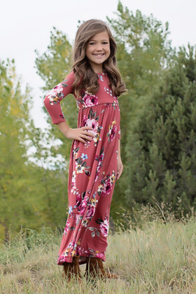Girls In My Dreams Floral Pocket Dress Rust CLEARANCE